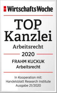 Frahm Kuckuk TopKanzlei 2020 Arbeitsrecht Wiwo